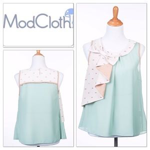 NWT Modcloth Ryu Mint Green Bow Top