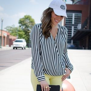 H&M Navy Striped Wrapover Blouse
