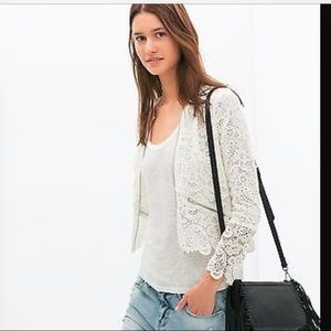 NWT Zara white floral lace zip jacket cardigan M