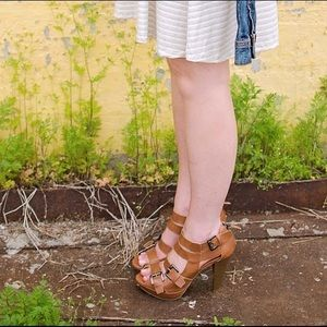 G by Guess Brown Gladiator Heeled Sandals