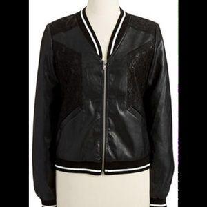 Jackets & Blazers - Lace Faux Leather Jacket
