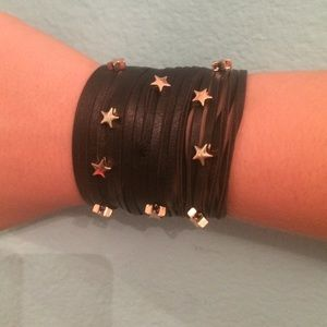 Jewelry - Black bracelet with gold stars!