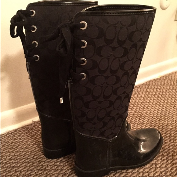 1a42ad977566 Coach Boots - Coach rain boots with lace-up bow back