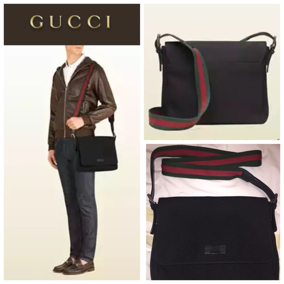 14% off Gucci Handbags - Gucci Black Techno Canvas Messenger Bag ...