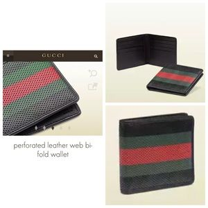Gucci Leather Web Bi-fold Wallet LNWOT