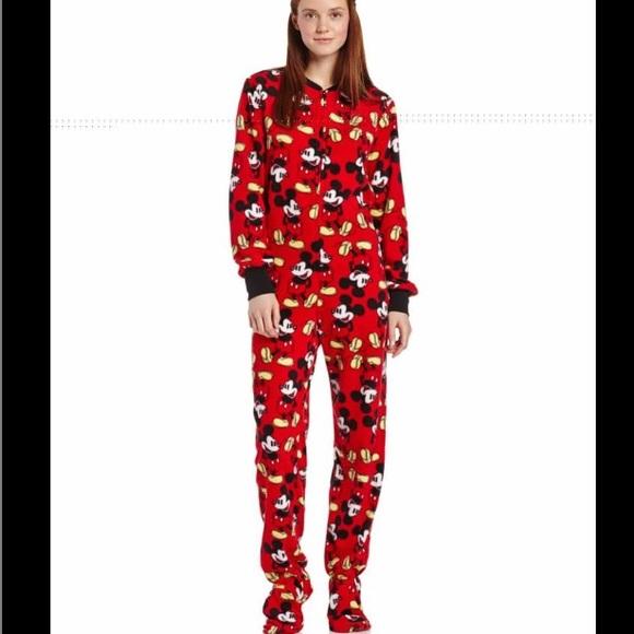 Disney Tops Red Mini Mouse Adult Onesie Pajamas Poshmark