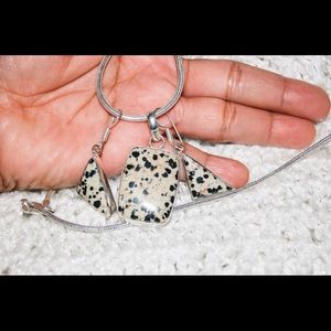 Spotted Dalmation Jasper Pendant & Earrings Set