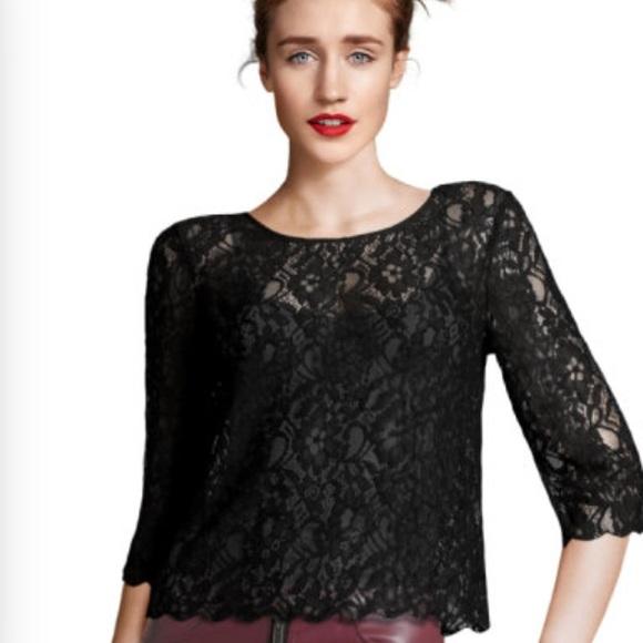 6f4ff76fa5c521 H&M Tops | Hm 34 Sleeve Black Lace Top | Poshmark