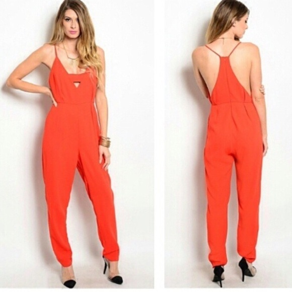 Ktail boutique  Other - Red plunge romper jumpsuit playsuit one piece