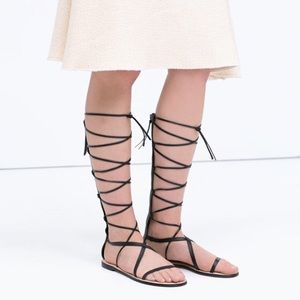 Zara Shoes - Zara Leather Lace Up Gladiator Sandals