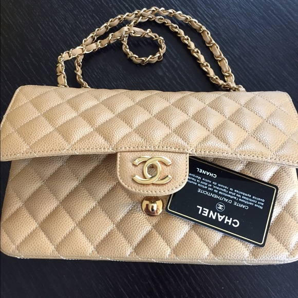 cbdc524806bb CHANEL Handbags - Chanel Beige Caviar Med Classic 2.55 Double Flap