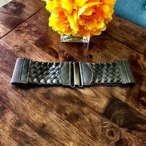 Faux Leather Woven Belt
