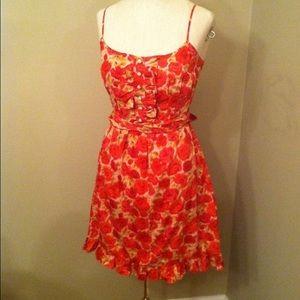 Forever 21 rose floral print dress ruffle hem XS