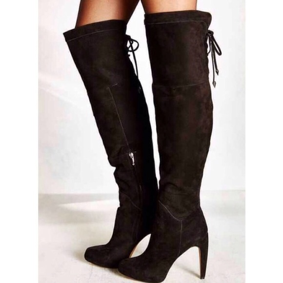 c046aba8824a77 Sam Edelman Thigh High Lace Up Black Suede Boots
