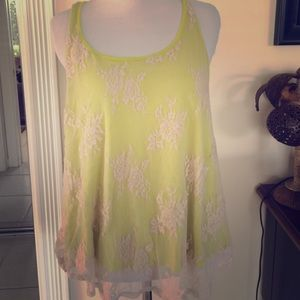 Lime green lace top