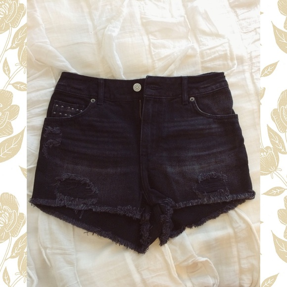 H&M - H&M Black High Waisted Distressed Shorts from Madison's ...