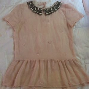Zara Beaded Peter Pan Collar Blouse 47