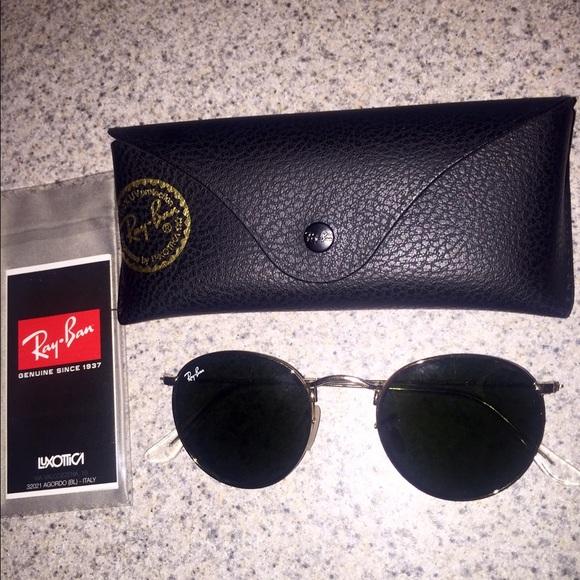 07b068d417 Ray Ban RB 3447 001 round gold sunglasses G15 lens.  M 558b0c80077e196f5000355e