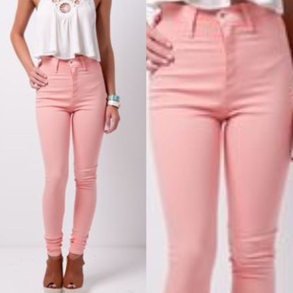 Light Pink High Waisted Jeans - Jon Jean