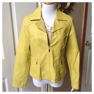 Yellow Faux Leather Jacket