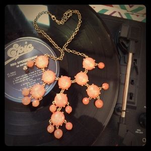 Sparkly peach statement necklace