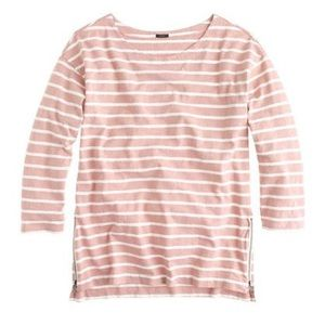 J. Crew Tops - J Crew Side Zip Striped Tee in Blush/Ivory