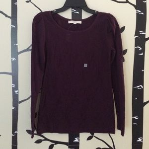 Loft deep purple lace long sleeve top