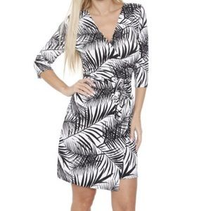 Dresses & Skirts - Black & White Palm Print Wrap Dress
