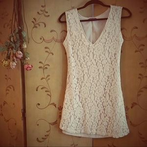 Crochet Lace Cream Blush Dress