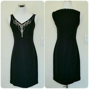 Petite Sophisticate Dresses & Skirts - Black jeweled embellished petite party dress