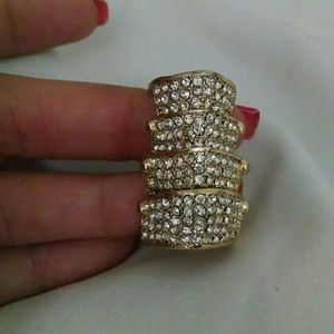 Gold Crystal Knuckle Ring