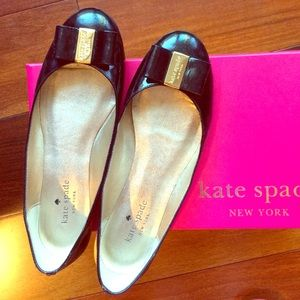 Authentic Kate Spade Thyme patent black flats