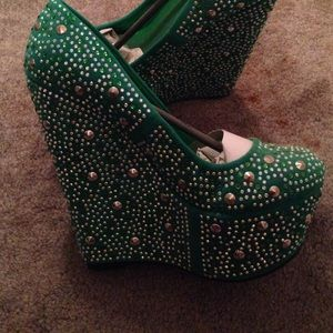 Green teal crystal heels