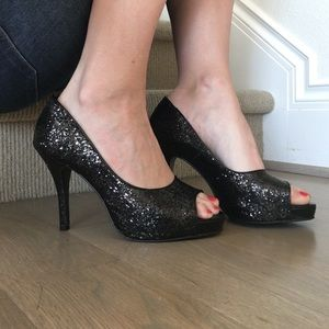 Audrey Brooke Shoes - Black Sparkle Heel!