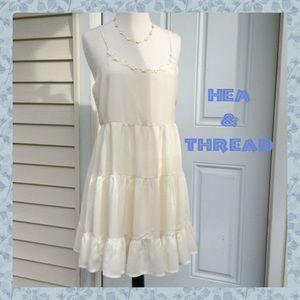 "New ""HEM & THREAD""  Beautiful Creme Ruffle DRESS"