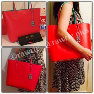 New Kate Spade red blue leather tote