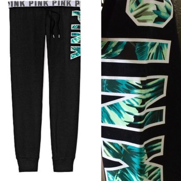 2679eebcdae9a PINK Victoria's Secret Pants   New Vs Pink Gym Black W Tropical Palm ...