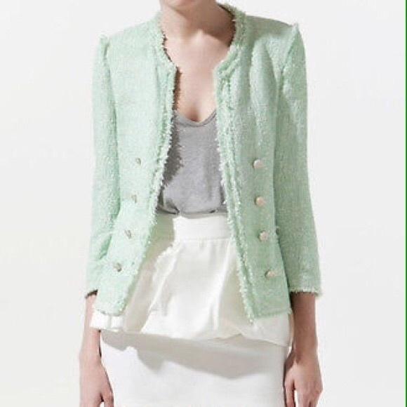 Zara green boucle coat