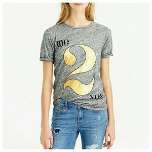 J. Crew Tops - NWT J. Crew gray tee with gold Size S