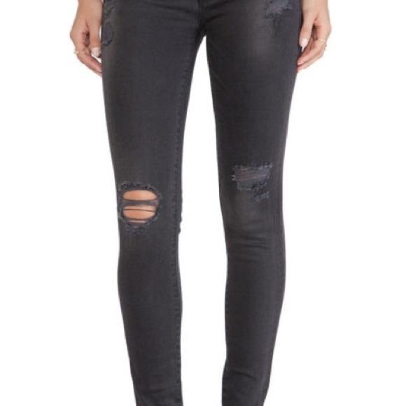 Le Maigre De Jeanne Détresse Des Jeans De Grande Hauteur - Cadre Gris Foncé Denim 7Ph0q46Ny