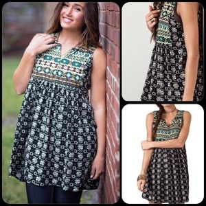 TillieCreekclothing Dresses & Skirts - Sephia Mix Boho Sleeveless Peasant Dress