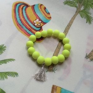 Jewelry - Neon yellow bead bracelet with tassel charm