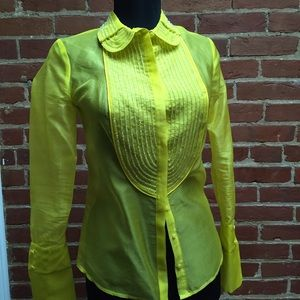 Sheer Silk yellow beaded top
