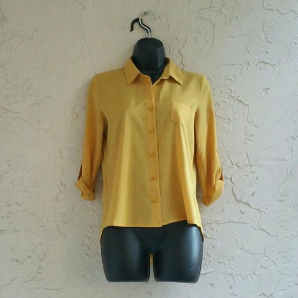 a7170b1b Mustard Yellow Button Up Blouse. M_558c4680e7d52c4b24005a68