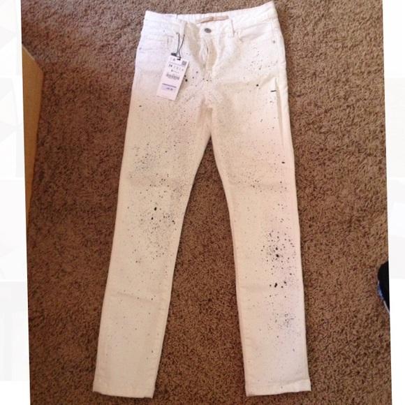 ca6a0e9f Zara Pants | Women Paint Splattered Jeans Nwt | Poshmark
