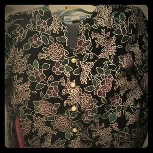 Jackets & Blazers - Black with red roses and green leaves.  Gold  butt