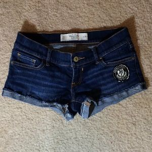 A&F Online Exclusive varsity jean shorts