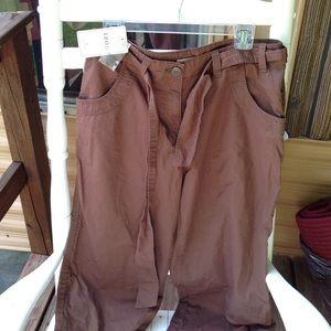 NWT IZOD dark brown capris with tie belt tie leg
