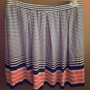 Navy, white, and coral striped skirt.