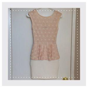 Pink and white peplum dress